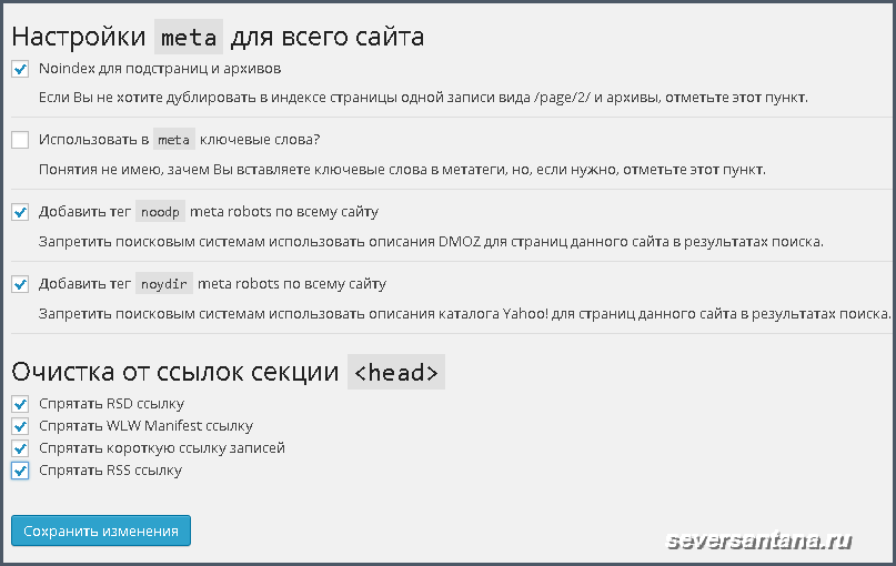 Плагин WordPress SEO by Yoast настройки meta